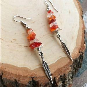 🔴SALE carnelian & quartz feather dangly earrings